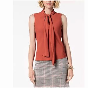 Nine West Sleeveless Tie Front Cinnamon Blouse NWT
